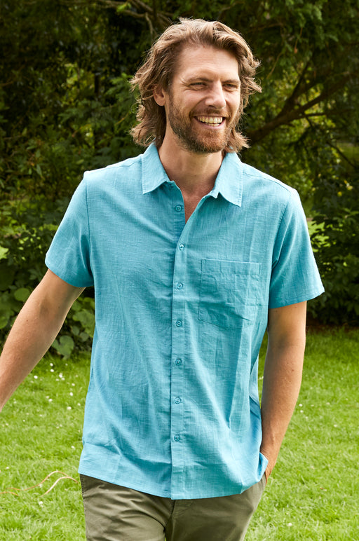 15% OFF NEW Nomads Men's Plain Cotton Short Sleeve Shirt, Wave, WAS £43.00 NOW £36.55