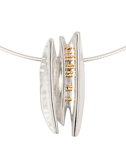 20% OFF Zoe Davidson Large Silver ridge pendant With Gold Pebbles WAS £300.00 NOW £240.00
