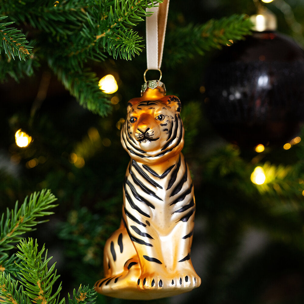 Xmas Glass Hanging Tiger Decoration £11.95