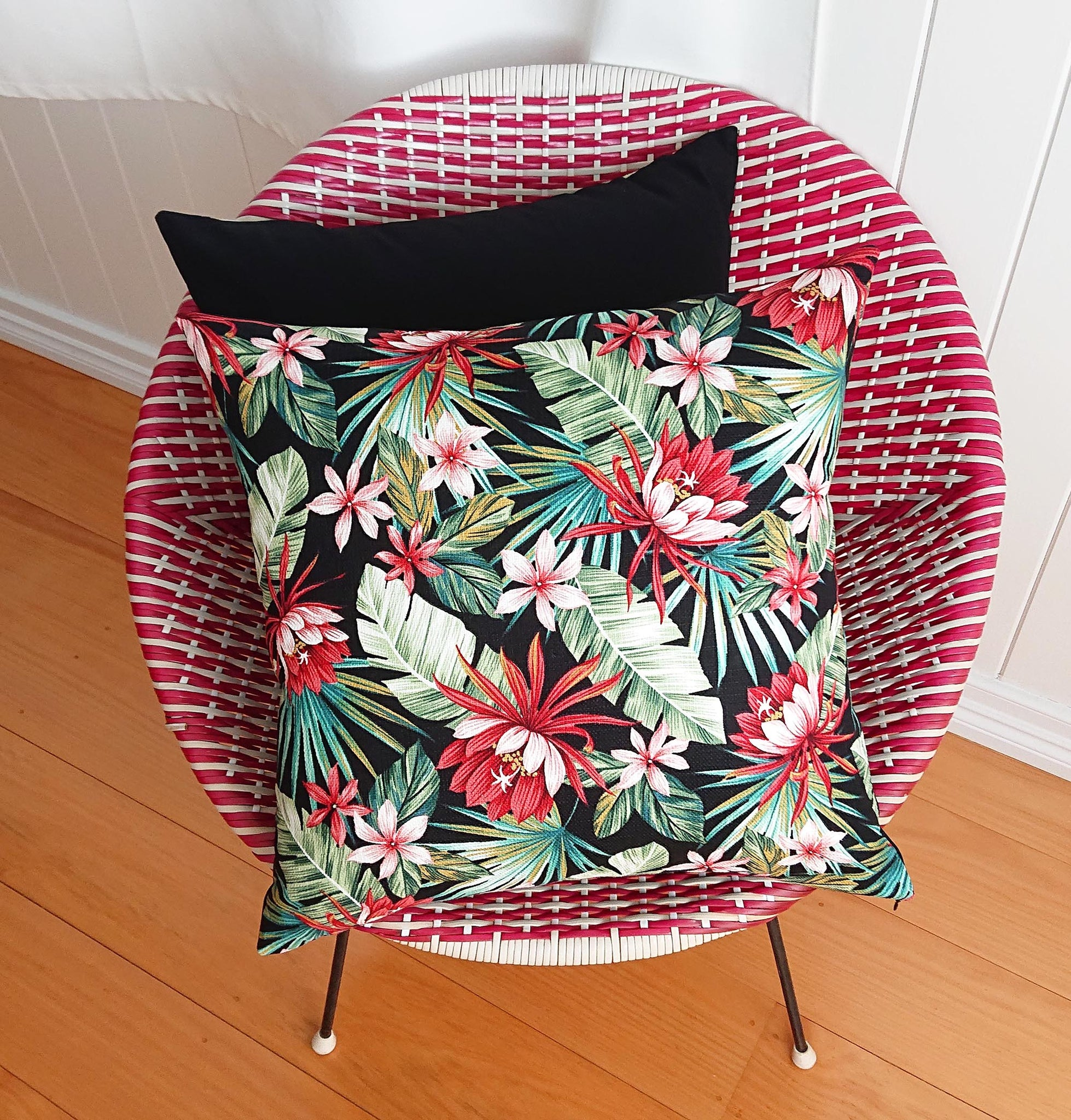 Tropical Red Flower Cushion Cover