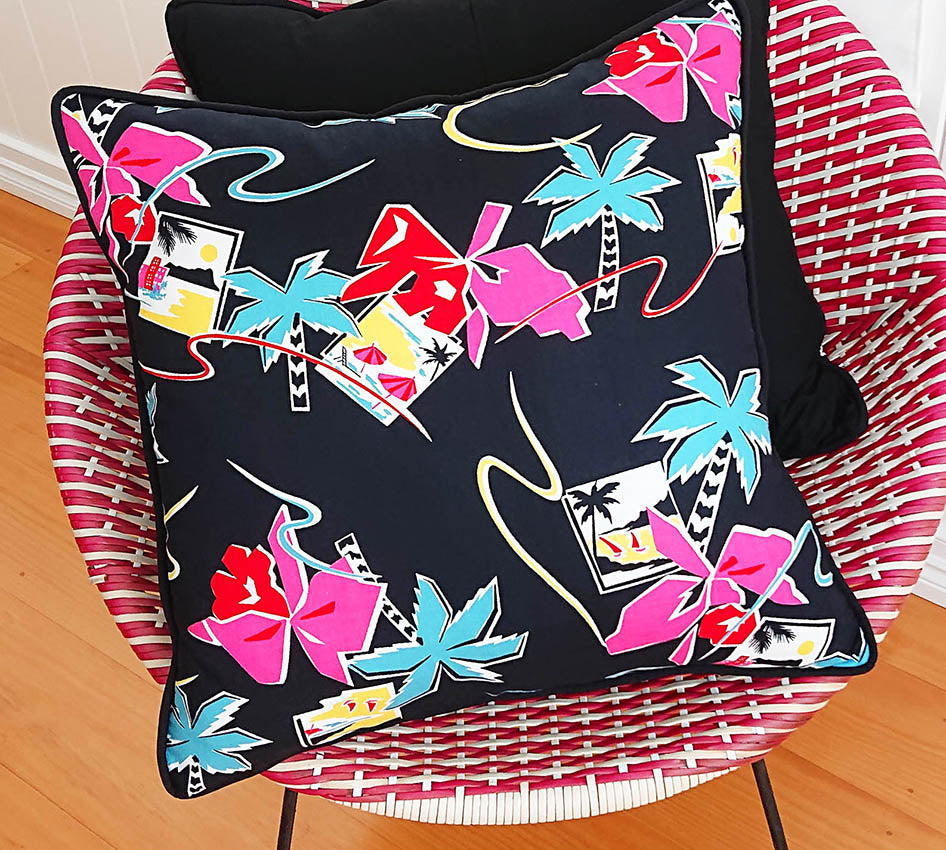 1980s Tropical Cushion Cover