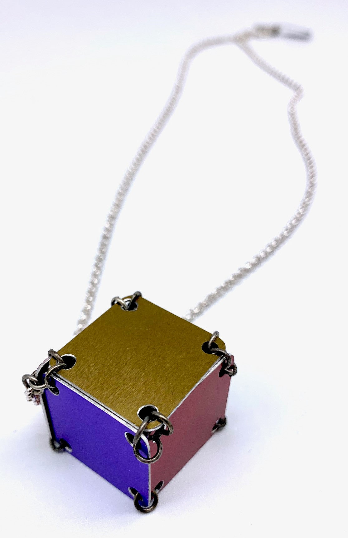 Red & Purple Cube Necklace