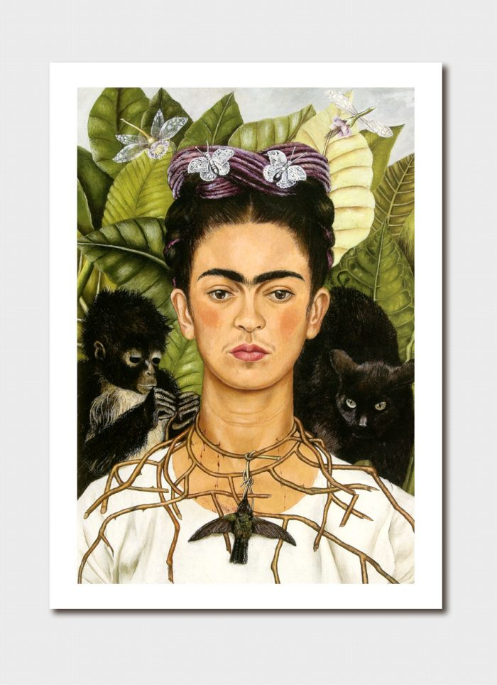 Self-Portrait with Thorn Necklace and Hummingbird Medium Print