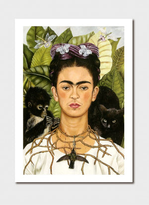 Self-Portrait Thorn Necklace & Hummingbird Medium Print - Frida Kahlo