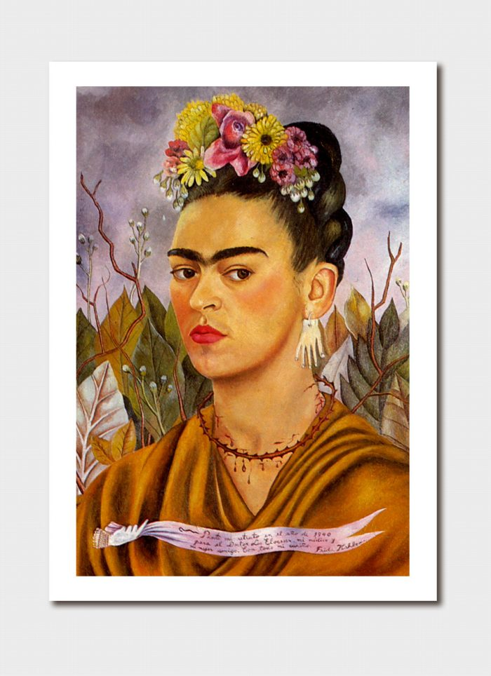 Self-Portrait Dedicated to Dr Eloesser Medium Print - Frida Kahlo