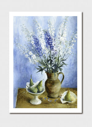 Delphiniums and Pears Medium Print - Margaret Olley