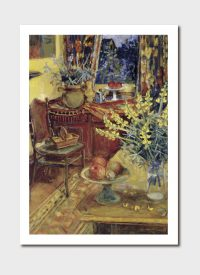 Yellow Lupins in Interior Medium Print - Margaret Olley