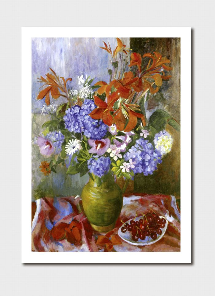 Summer Flowers and Cherries Medium Print