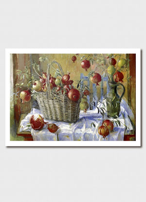 Pomegranates in a Basket Medium Print