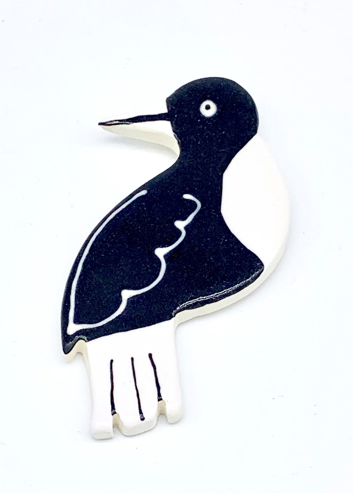 Ceramic Magpie Brooch
