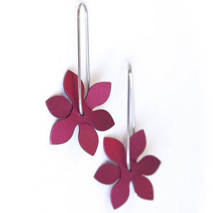 Anodized Earrings Propeller Point Red