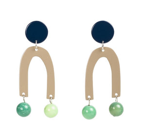 Pendulum Earrings Navy & Green