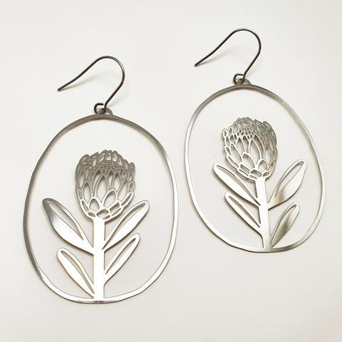 Protea Silver Earrings