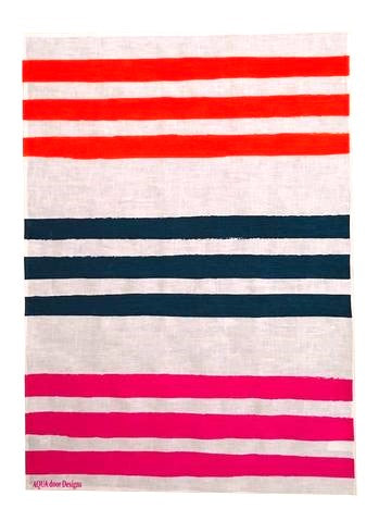 Triple Stripes Neon Orange Ink Magenta Linen Tea Towel