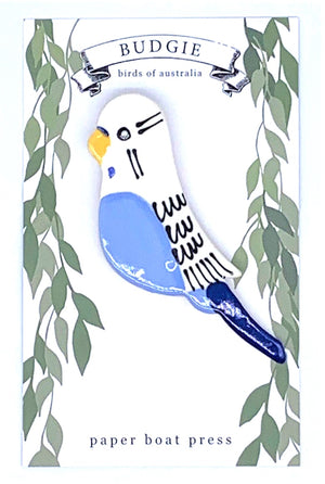 Blue Budgie Brooch