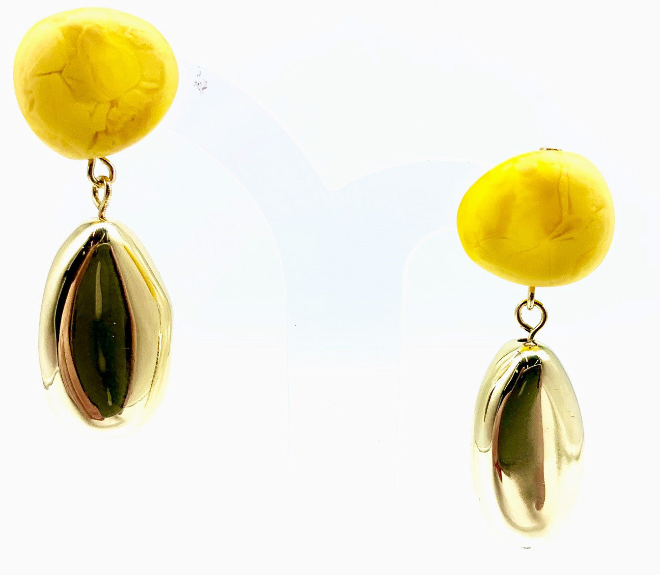 Mineral Drop Earrings Honeycomb Brass