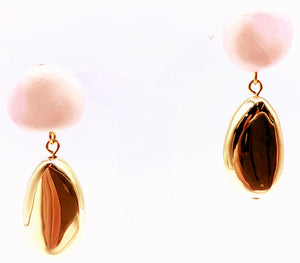 Mineral Drop Earrings Shell Pink Brass