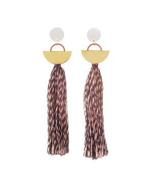 Khamun Tassel Earrings Copper and Navy