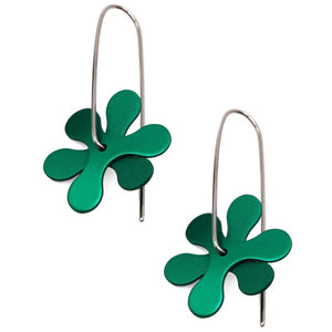 Anodized Earrings Propeller Curve Green