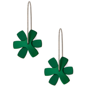 Anodized Earrings Propeller Flat Green