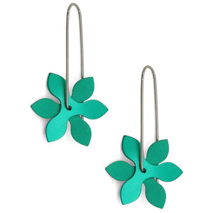 Anodized Earrings Propeller Point Green