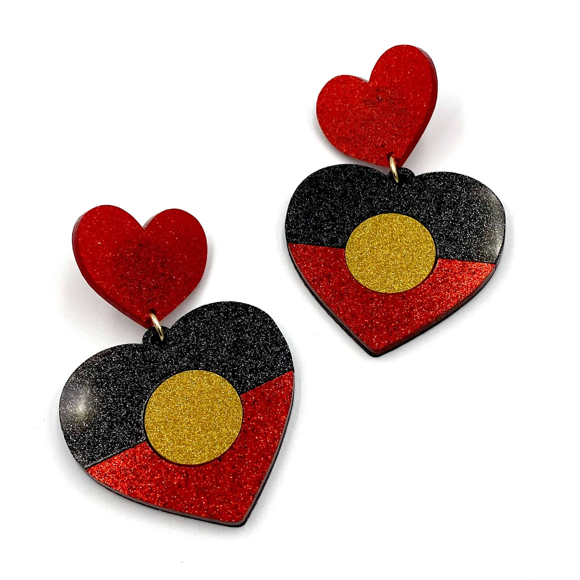 Glitter Indigenous Heart Earrings