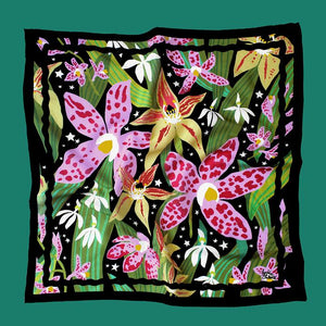 Midnight Orchids Silk/Cotton Scarf