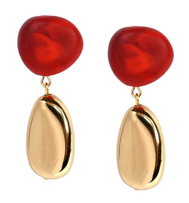 Mineral Drop Earrings Blood Orange Brass