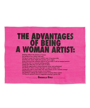 Advantages of Being a Woman Artist Tea Towel - Guerrilla Girls