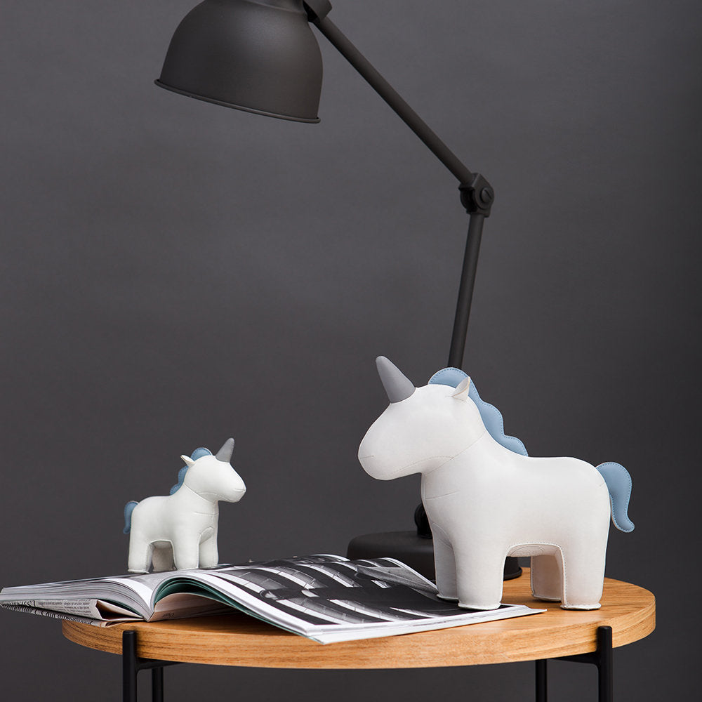 Zuny White Unicorn Bookend