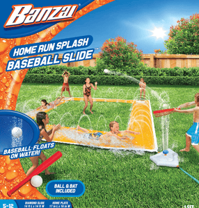 Banzai 14ft X 14ft Home Run Splash Baseball Sprinkler Inflatable Water Park Pool Slip And Slide - Millennial Sales