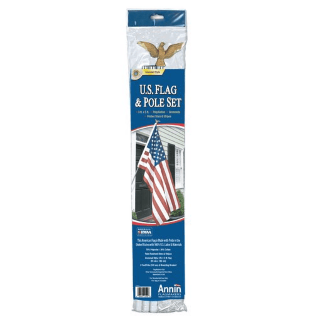 Annin Flagmakers 3' x 5' U.S. Flag and Flagpole Set With Gold Eagle Steel Bracket - Millennial Sales