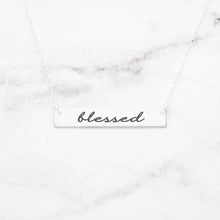 Load image into Gallery viewer, Blessed Necklace - Sterling Rose Gold Bar Necklace Pendant Engraving - Millennial Sales