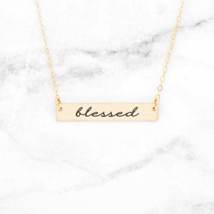 Blessed Necklace - Sterling Rose Gold Bar Necklace Pendant Engraving - Millennial Sales