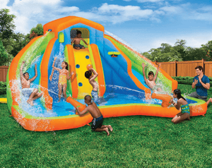 Banzai Adventure Club Inflatable Water Park 15 x 15 x 8 ft Turbo Mega Zone Slip N' Slide - Millennial Sales