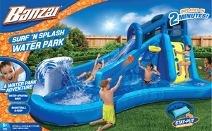 Banzai Surf N' Splash Water Park Slide w/ Basketball Hoop Outdoor Play Obstacle Course - Millennial Sales