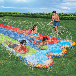 Banzai Triple Racer Water Slip And Slide w/ 3 Bodyboards - Millennial Sales