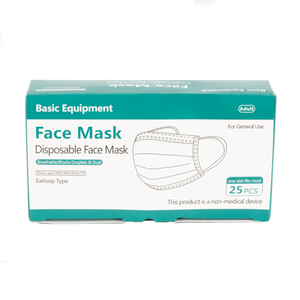 Basic Equipment 3-Ply Disposable Face Masks, 25 ct - Millennial Sales
