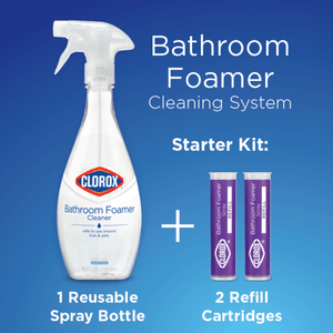 Clorox Bathroom Foamer Cleaning Starter Kit, Clean Mist Scent, 50 oz Reusable Bottle - Millennial Sales