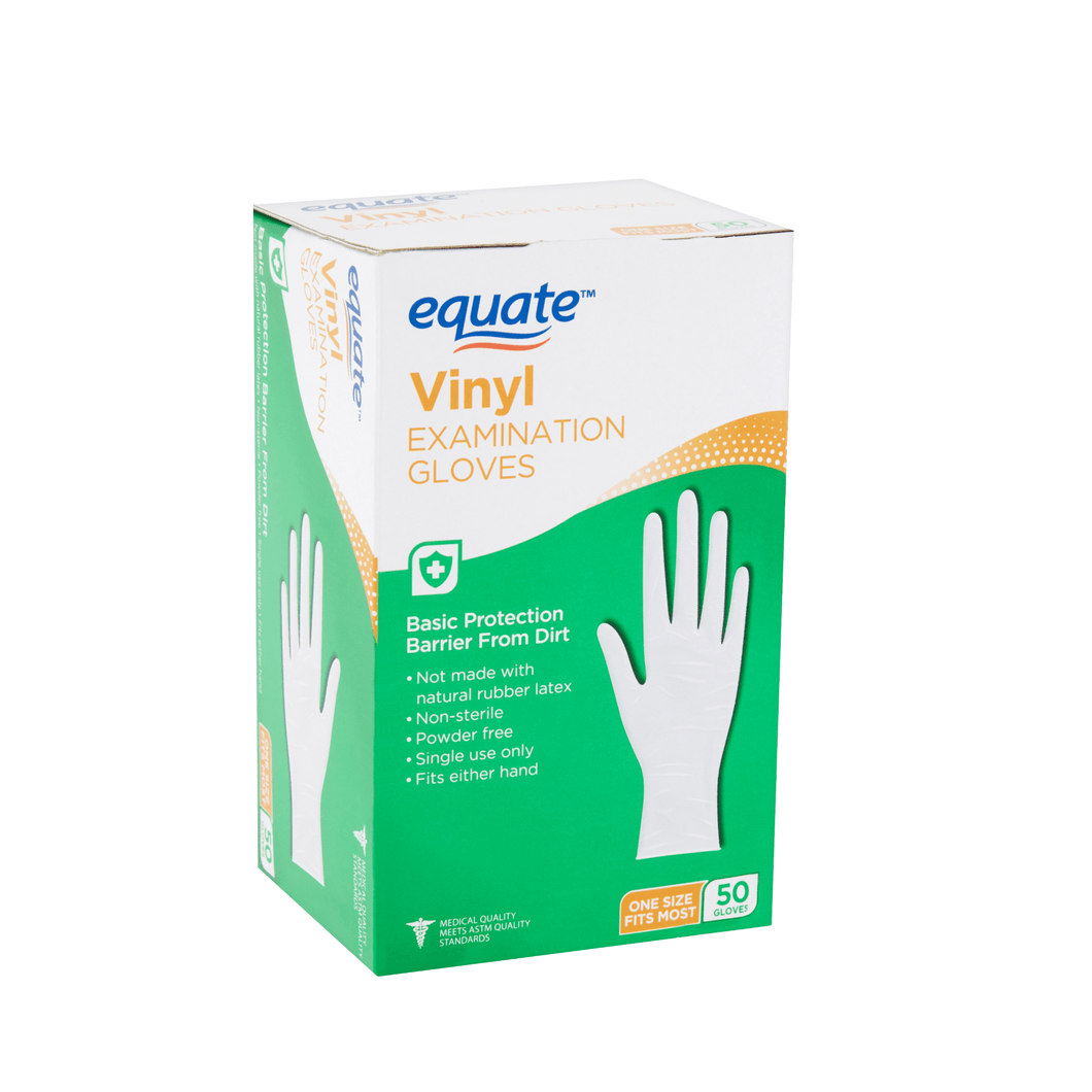Equate Vinyl Examination Gloves, 50 count - Millennial Sales