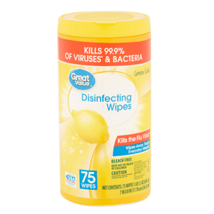 Disinfectant Wipes Kills Bacteria Virus Disinfects 75 ct - Great Value Lemon Scent - Millennial Sales