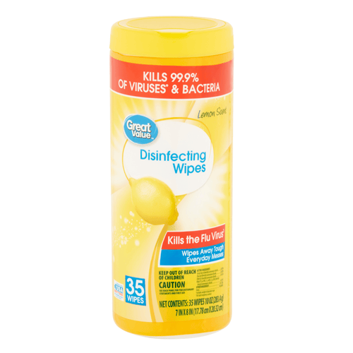 Disinfecting Wipes Kills Bacteria Virus Disinfects 35ct - Great Value Lemon Scent - Millennial Sales