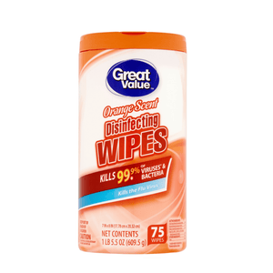 Great Value Disinfectant Wipes Kills Bacteria Virus Disinfects 75 ct - Orange Scent - Millennial Sales