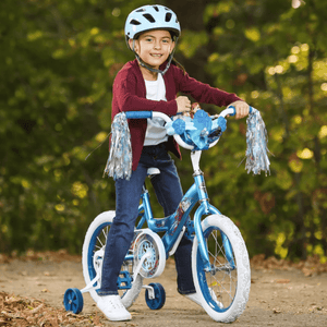 "Huffy Kids Disney Frozen 2 Elsa & Anna 16"" Bike With Training Wheels - Blue Bicycle - Millennial Sales"