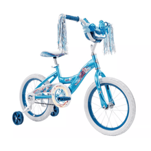 "Load image into Gallery viewer, Huffy Kids Disney Frozen 2 Elsa & Anna 16"" Bike With Training Wheels - Blue Bicycle - Millennial Sales"