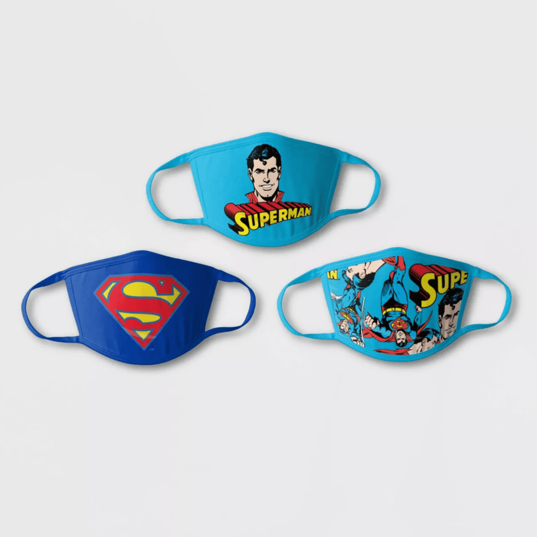 Kids 3pk Superman Face Mask - Millennial Sales