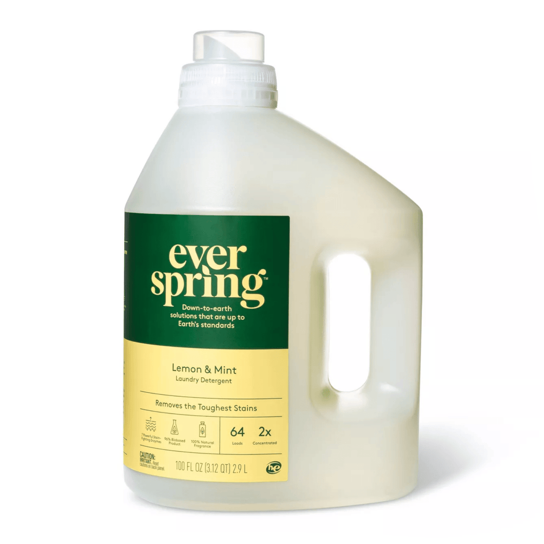 Ever Spring Laundry Detergent Concentrated Lemon & Mint Natural Scent Non-Toxic 100 fl oz - Millennial Sales