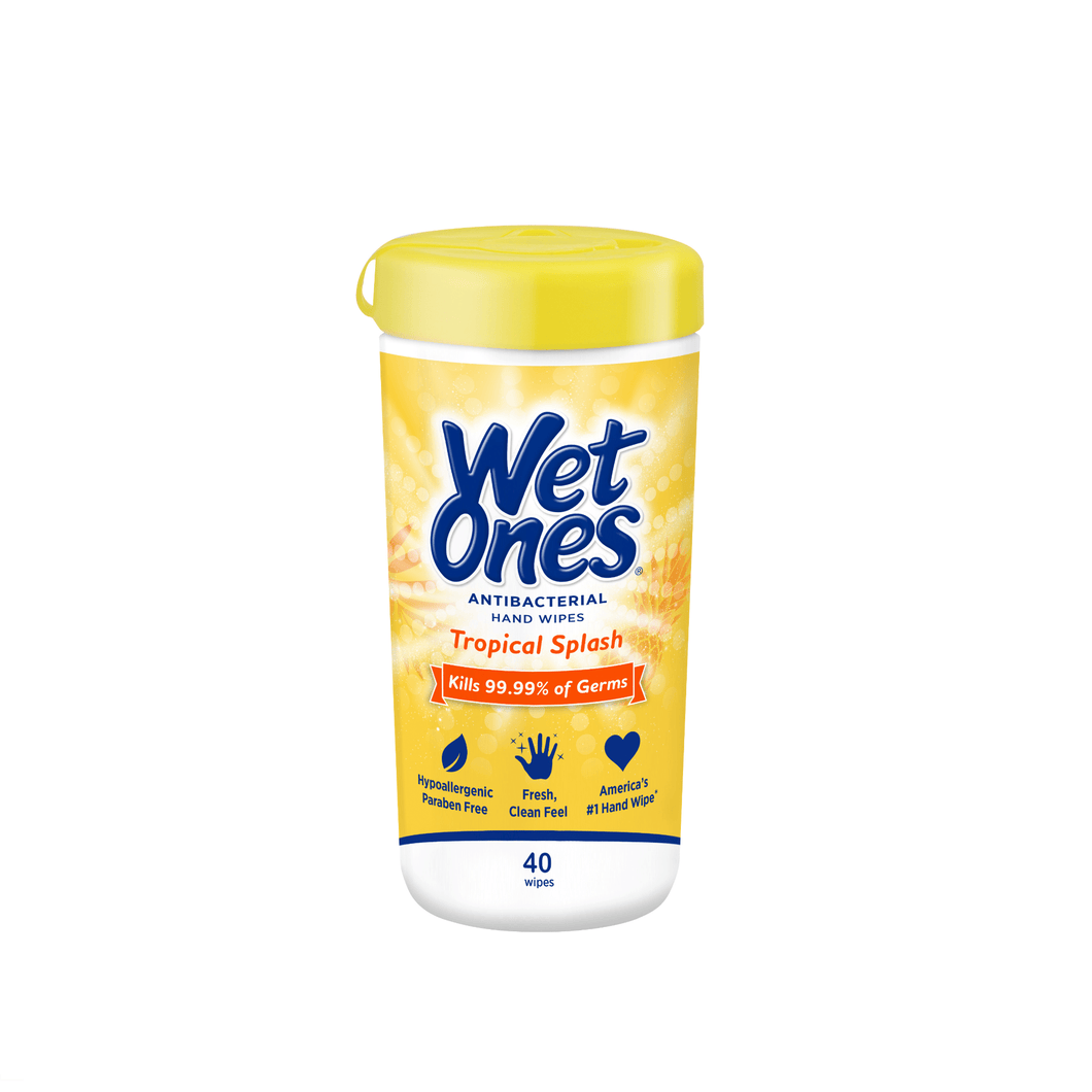 Wet Ones Antibacterial Hand Wipes Canister Kills 99.9% Germs Tropical Splash, 40 Ct - Millennial Sales