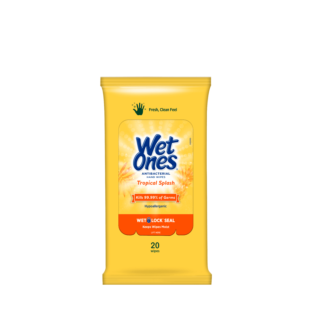 Wet Ones Antibacterial Hand Wipes Travel Pack, Tropical Splash, 20 Ct - Millennial Sales