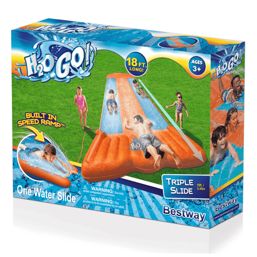H2OGO! 18' Foot Triple Lane Water Slide & Slide, Ramp - Bestway - Millennial Sales